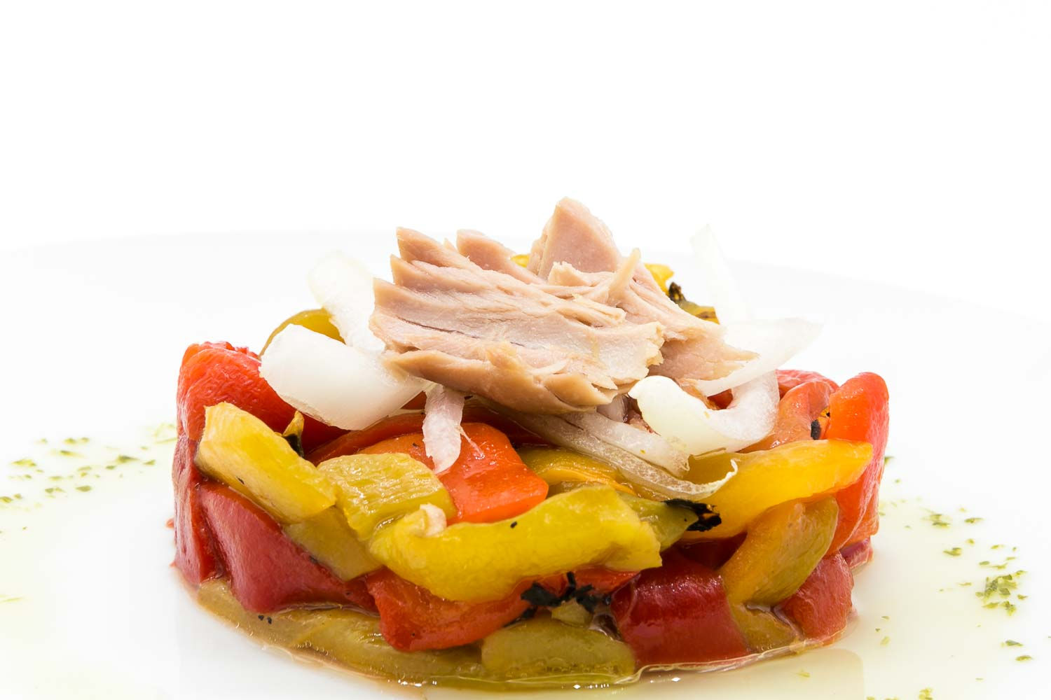 Grilled peppers with tuna in extra Virgin olive oil