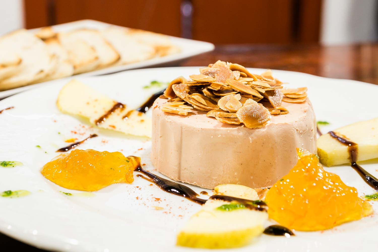 Duck pate with orange marmalade and almonds