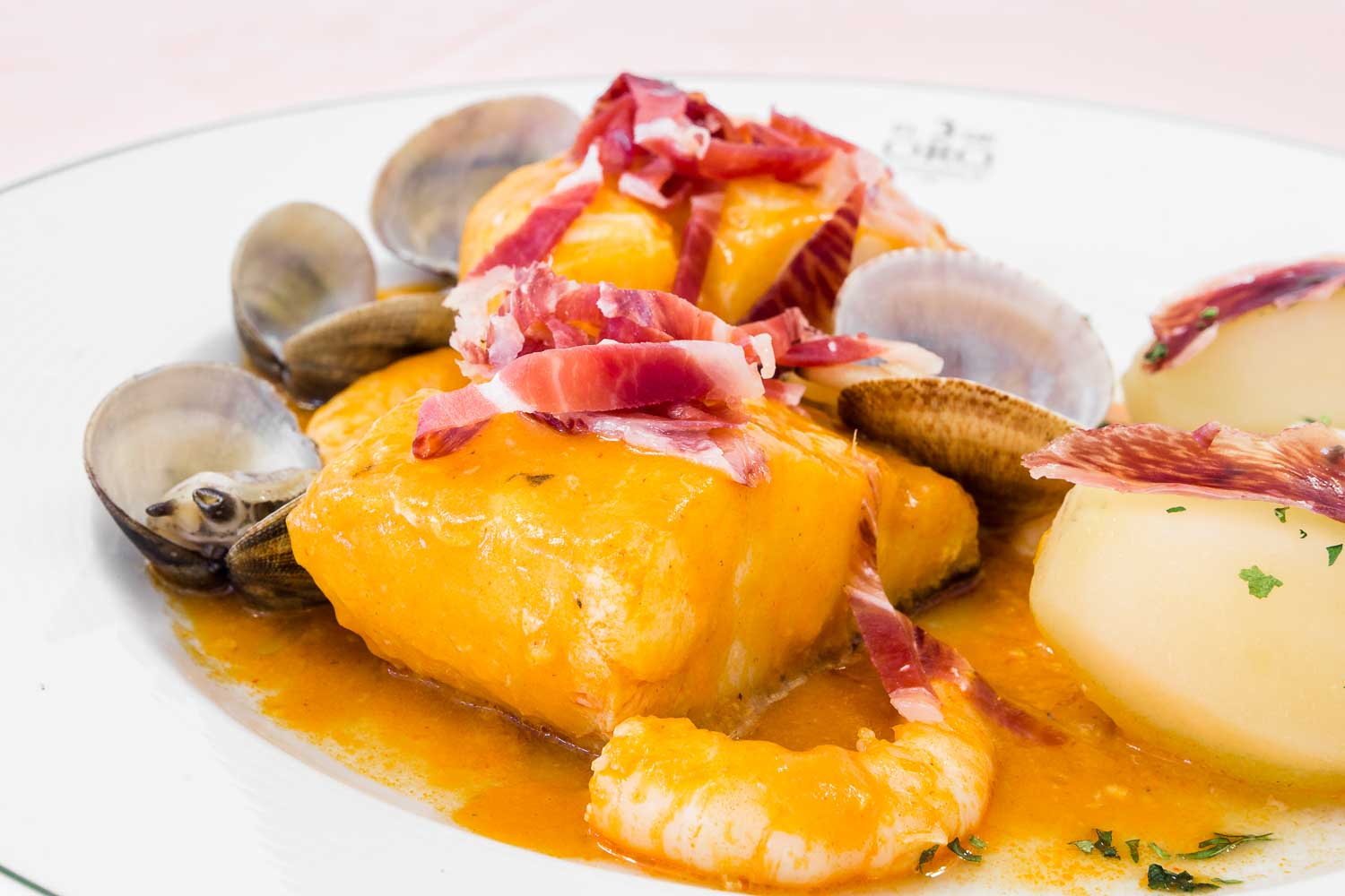 Cod with Prawns and Ham