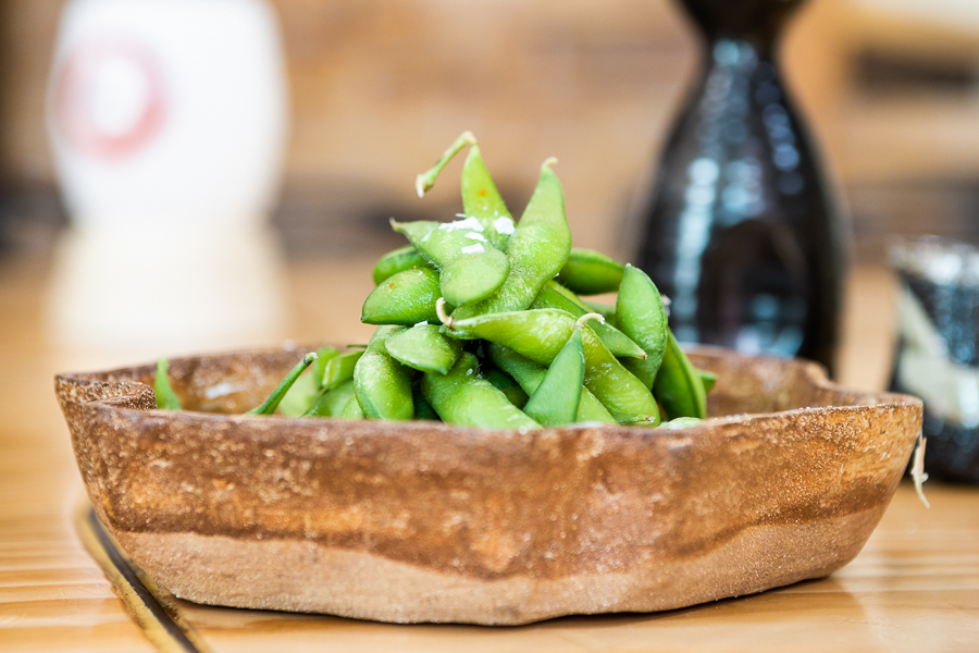 Edamame in pod with a pinch of salt