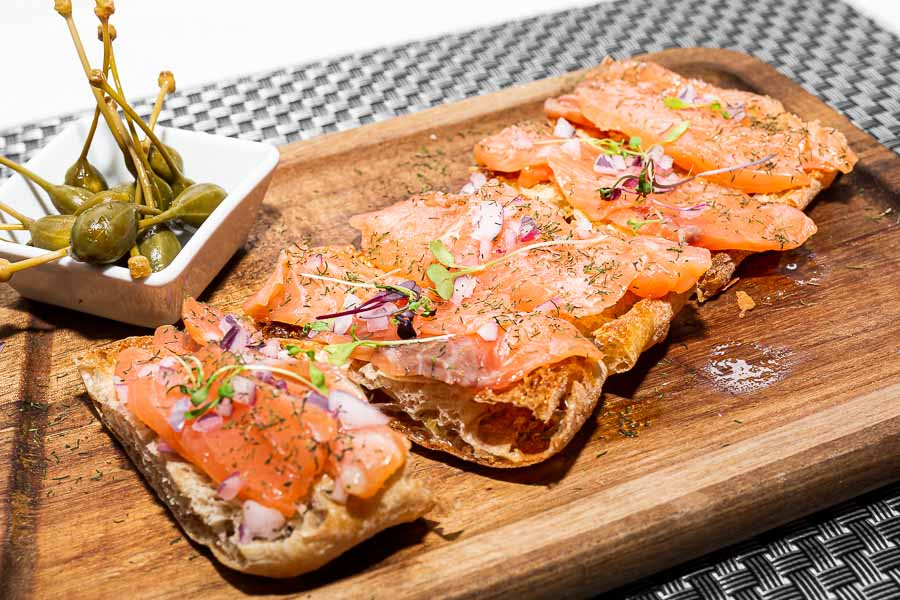 Toast with marinated salmon